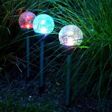 BUVTEC 3er Set LED Solar Leuchte Leuchtkugel umschaltbar weiss oder Farbwechsler – Bild 3