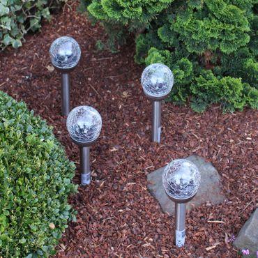 Best Season 47737 LED-Solar-Stäbe mit Kugel 4-er Set 39 x 8 cm, silber 4 Stück Solar LED Gartenstecker Gartenleuchte Leuchte Solarleuchte Glaskugel Lampe Glaskugellampe Leuchten Gartenleuchten Lampen  – Bild 2