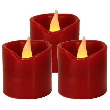 3er LED-Wachskerzenset, Farbe : rot