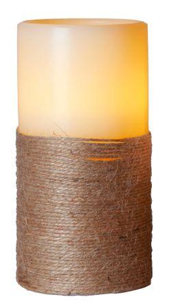 """LED-Wachskerze """"Rope"""", Farbe: weiss, – Bild 1"""