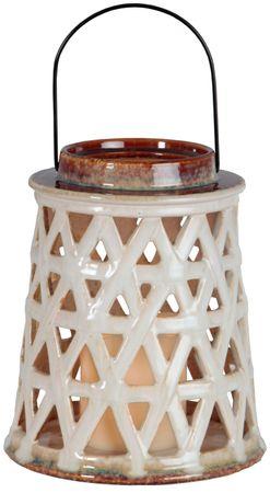 LED-Keramik-Laterne, Farbe: beige/braun – Bild 1