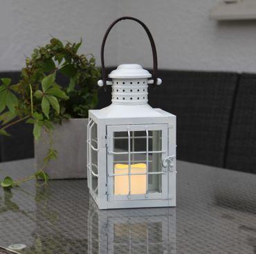 "LED-Laterne ""Lantern 30cm"", Farbe: weisses Metall – Bild 3"
