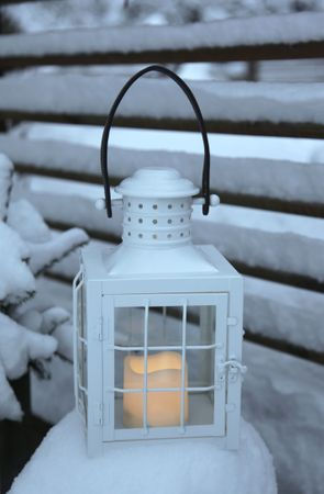 "LED-Laterne ""Lantern 30cm"", Farbe: weisses Metall – Bild 8"