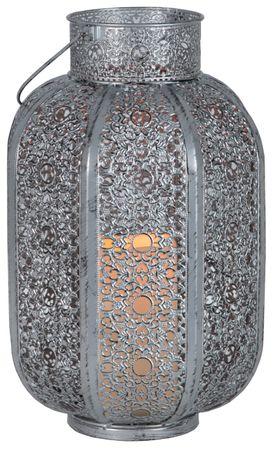 "LED-Laterne ""Agadir"", Farbe: silber/grau, Timer – Bild 2"