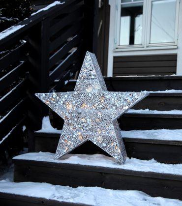 LED-3D Silhouette Stern mit Pallietten, silber – Bild 2