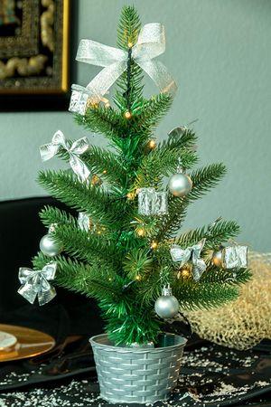 LED Weihnachtsbaum mit Dekoration,  silber,  ca. 4 – Bild 2