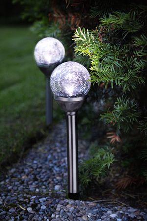 LED-Solar-Stäbe mit Kugel, 2er Set silber, ca.29x8 – Bild 2