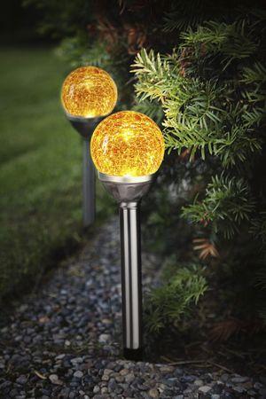"""LED-Solar-Stäbe """"Roma"""", 2er Set silber/ orange – Bild 3"""
