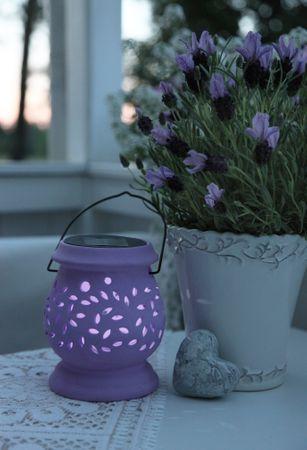 """LED-Solar-Laterne """"Clay Lantern"""", flieder – Bild 1"""