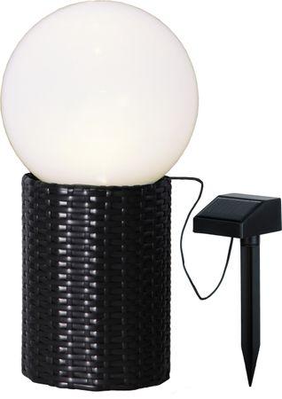 LED-Solar-Kugel mit Sockel in Rattanoptik – Bild 1
