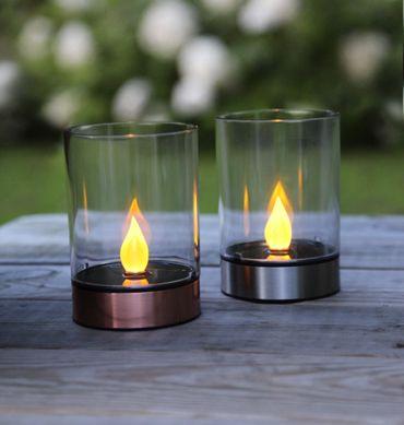 LED-Solar-Windlicht, kupferfarben, 1 amber LED – Bild 5