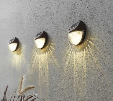 "LED-Solar-Wandleuchten ""Fency"", 3er Set, je 11x11c – Bild 6"