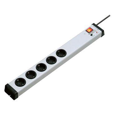 5-fach Steckdosenleiste Geräteschutz Netzfilter plus, mit Schalter und 1,5 m Zuleitung