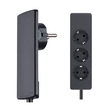 EVOline PlugFIX mit 1,5 m Anschlussleitung und 3-fach Steckdosenleiste, schwarz