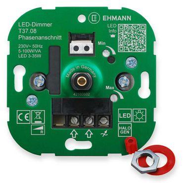 LED UP-Phasenanschnitt-Dimmer T37.08, für dimmbare LED-Lampen, Druck-Wechsel-Schalter 100W