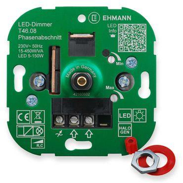 LED UP-Phasenabschnitt-Dimmer T46.08, für dimmbare LED-Lampen, Druck-Wechsel-Schalter 450W