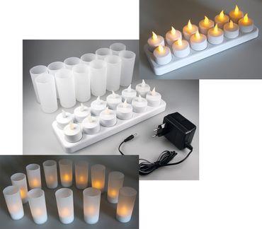 LED Teelichter, 12er Set, mit Windschutz – Bild 1