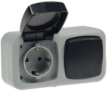Feuchtraum Kombi-Schalter/Steckdose,IP44 – Bild 1