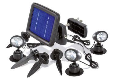 BUVTEC Solarleuchte - Solarspot Trio mit drei Spots schwarz und 2 zusätzlichen Verlängerungskabeln je 5 m esotec – Bild 1