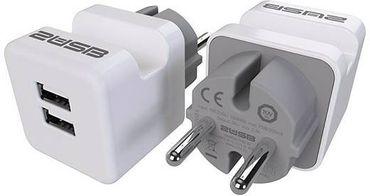 2USB Zwischenstecker easyCharge Plugin EU mit Handyhalter 2er-Set 12 W, 2,4 A