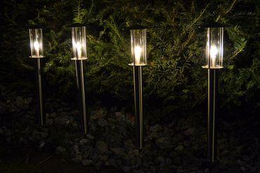 BUVTEC LED Edelstahl Glas Gartenleuchte warmweiß 4er Set außen