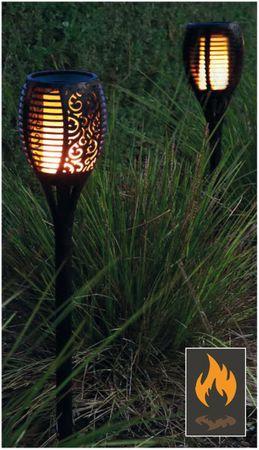 2er-Pack Solar Fackel Garten Solar wasserdichte flackernde Flammen Deko-Beleuchtung im Freien Dämmerungsautomatik Ein/Aus für Gartenterrasse 72 LED por Leuchte