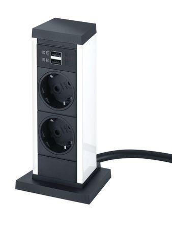 EVOline UP, 2x Steckdose, 1x USB weiß