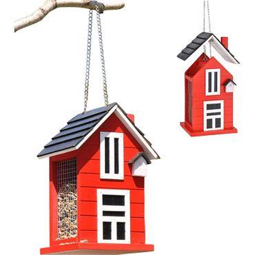 Vogelfutterhaus Holz rot – Bild 1