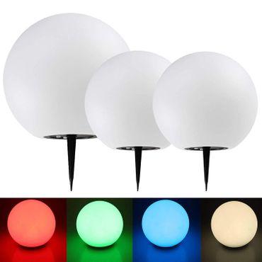 Solar Garten Leuchtkugeln 3er Set 30cm 30cm 40cm Ø LED RGB + Warmweiß – Bild 1