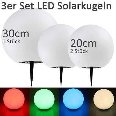 Solar Garten Leuchtkugeln 3er Set 20cm 20cm 30cm Ø LED RGB + Warmweiß – Bild 2