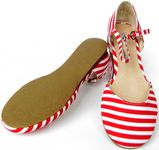 Buffalo London Sommer Riemchen-Sandale rot-weiß gestreift Grain Gros Damen