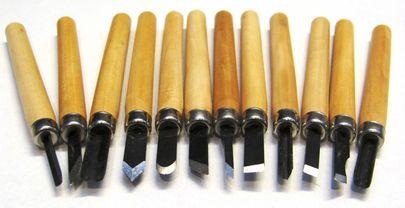 Mini-Schnitzwerkzeug 12-teilig Schnitzmesser Messer zum Hobby Holz-Schnitzen – Bild