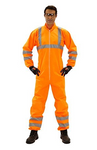 Einweganzug Karneval Fasching Kostüm Bauarbeiter Müllmann Einweg-Overall Orange