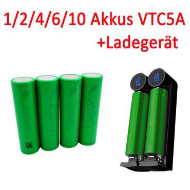 1/2/4/6/10 Akkus Sony VTC5A US18650VTC5A 18650 + Ladegerät Efest Slim K2