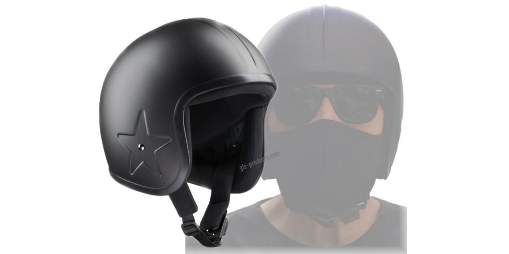 Bandit Helmets Jethelm Sky 3 Fiberglas mattschwarz