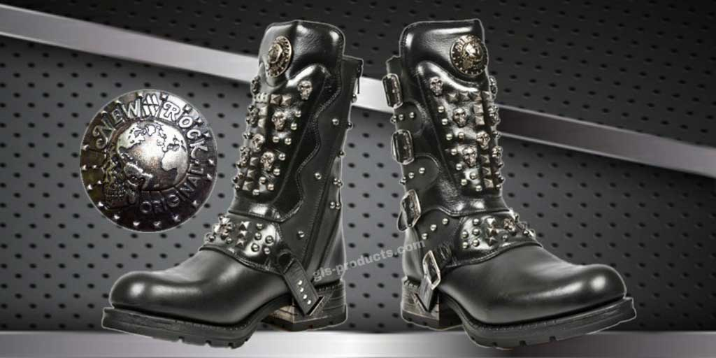 New Rock Engineer Boots MR019 with studs and Skulls