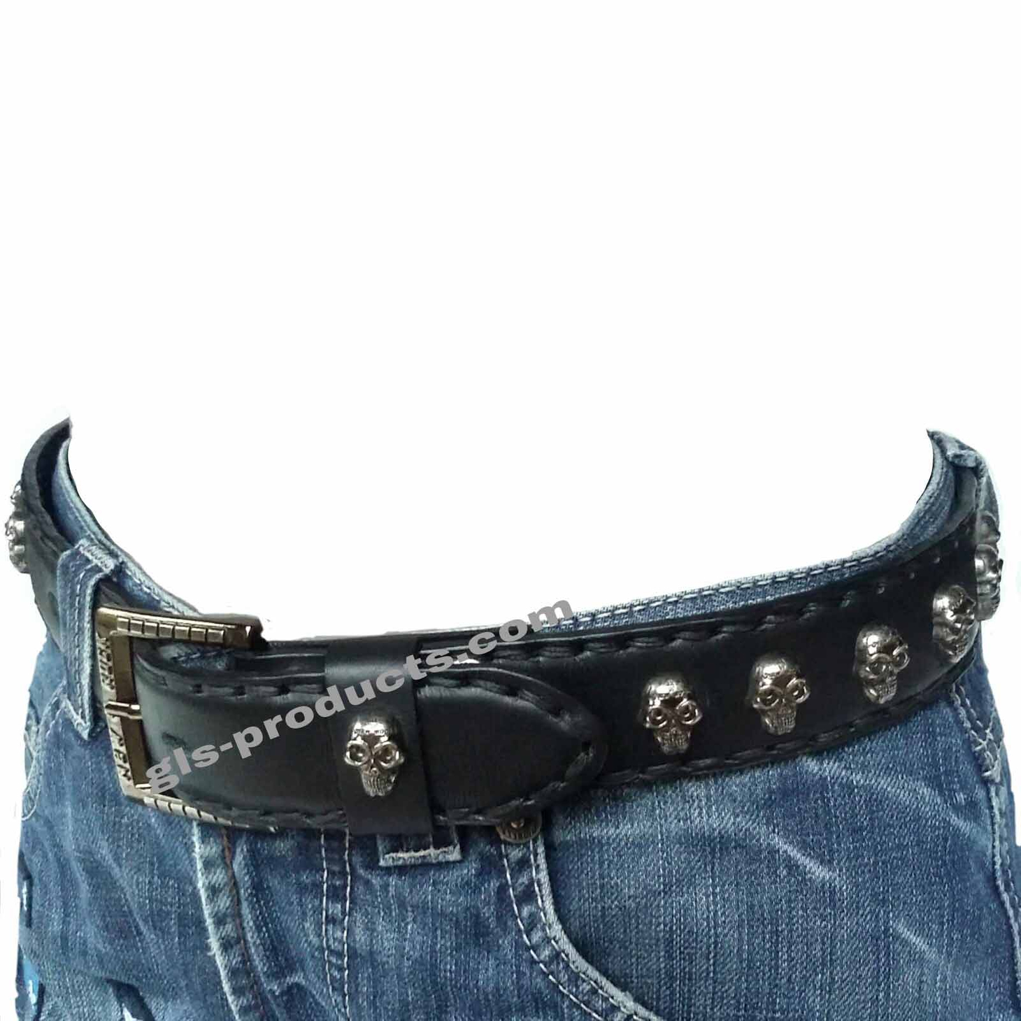 New Rock 144 full padded Belt with Skull Studs – Picture 2