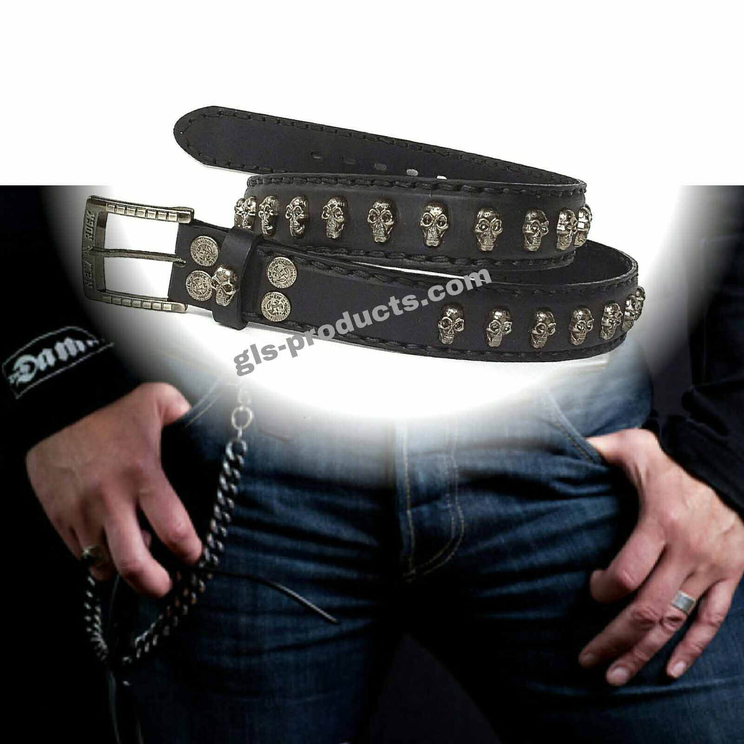 New Rock 144 full padded Belt with Skull Studs – Picture 4