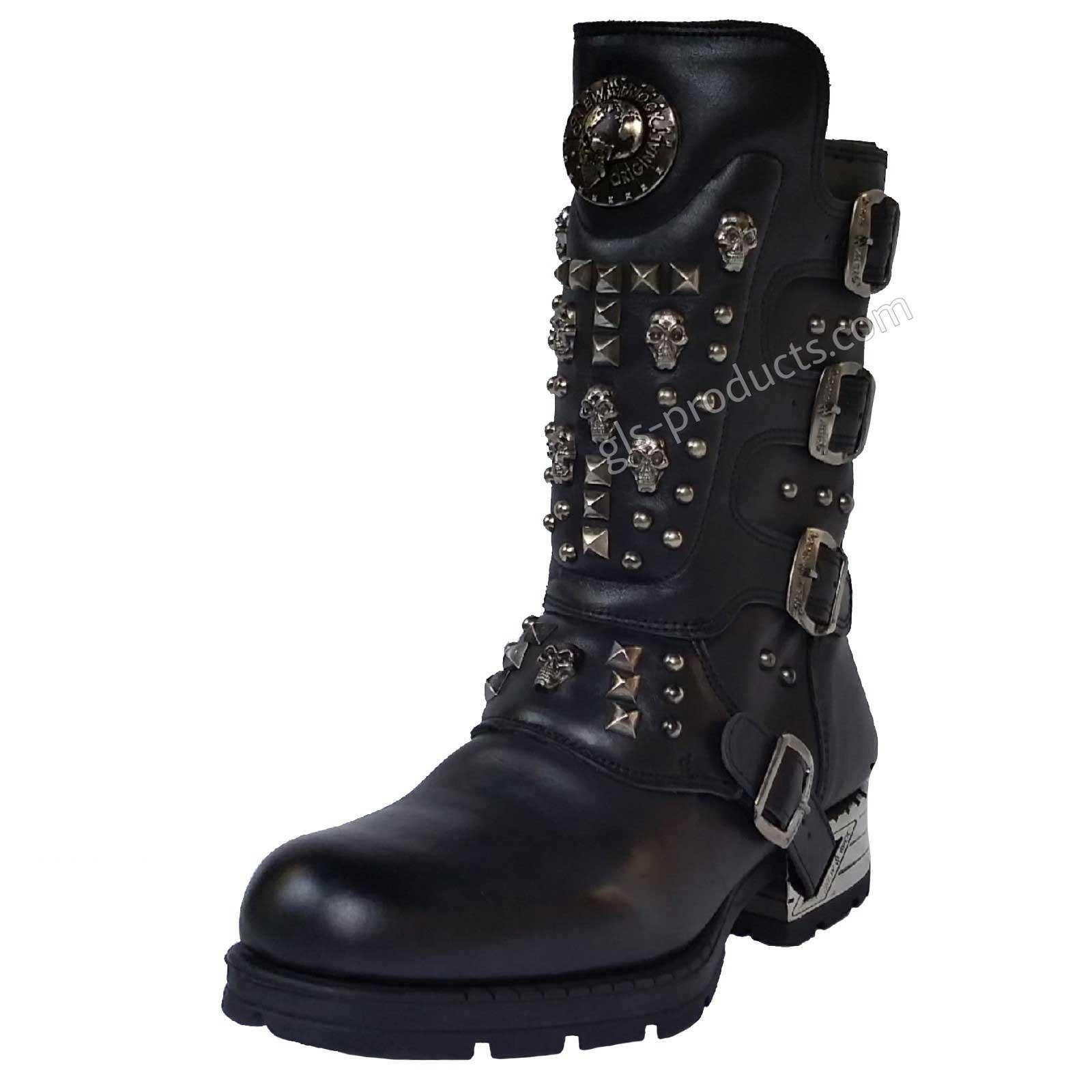 0276b711505b New Rock Engineer Boots MR019 mit Nieten und Skulls