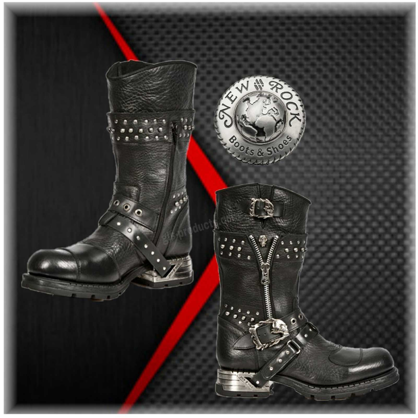 New Rock Engineer Boots MR022 with studs and zippers