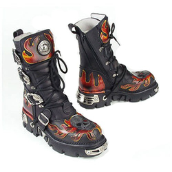 New Rock Boots with Flames 712-C1 001