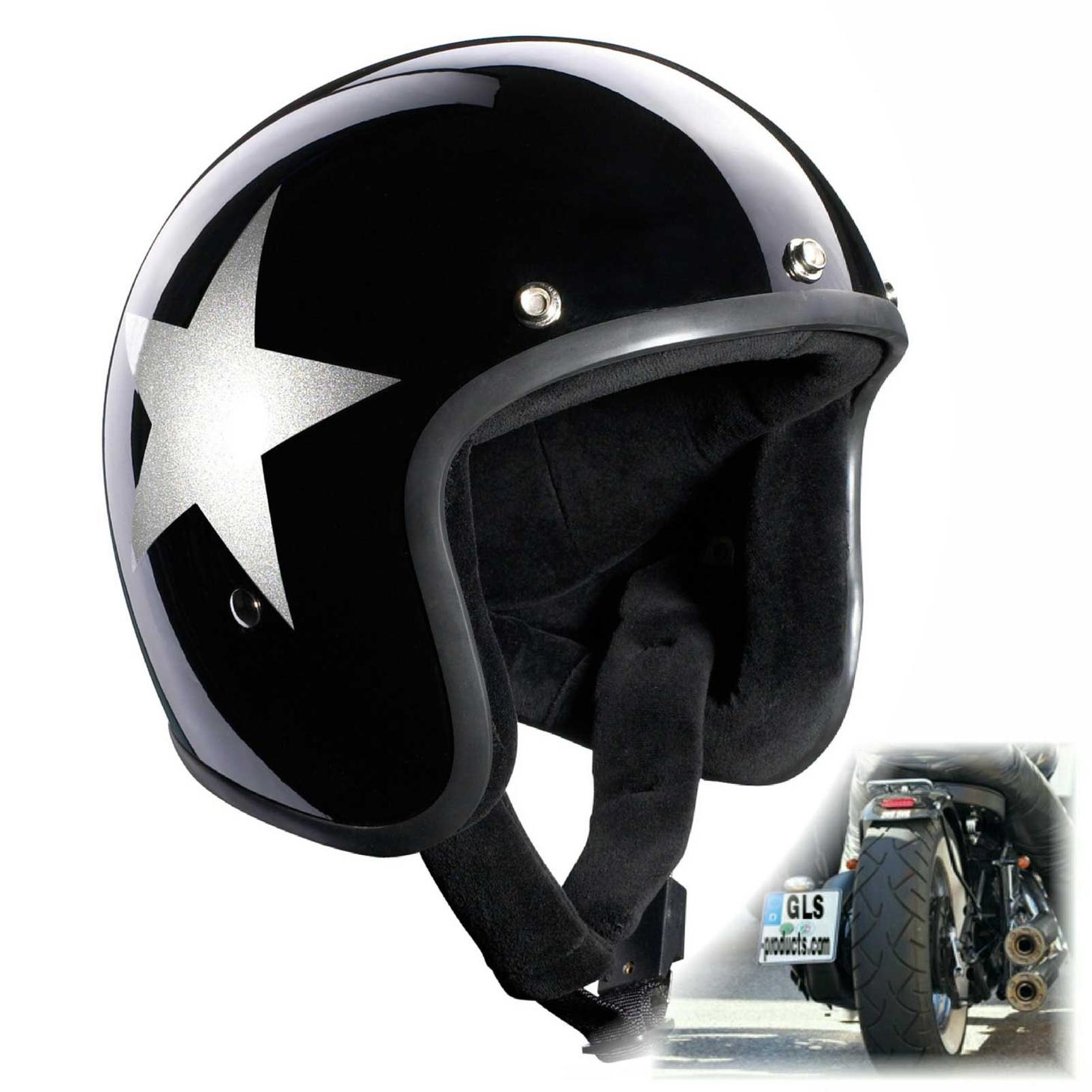 Bandit Star Black Jet Helmet - Black Motorcycle Helmet – Picture 1