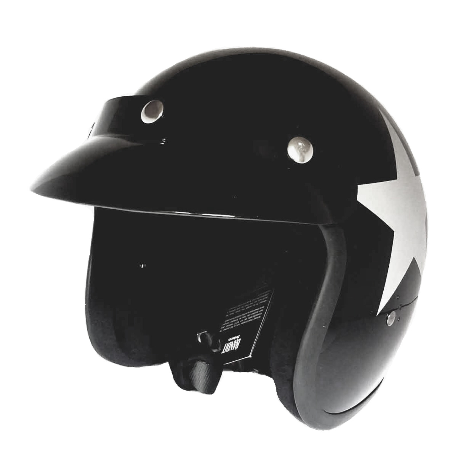Bandit Star Black Jet Helmet - Black Motorcycle Helmet – Picture 3