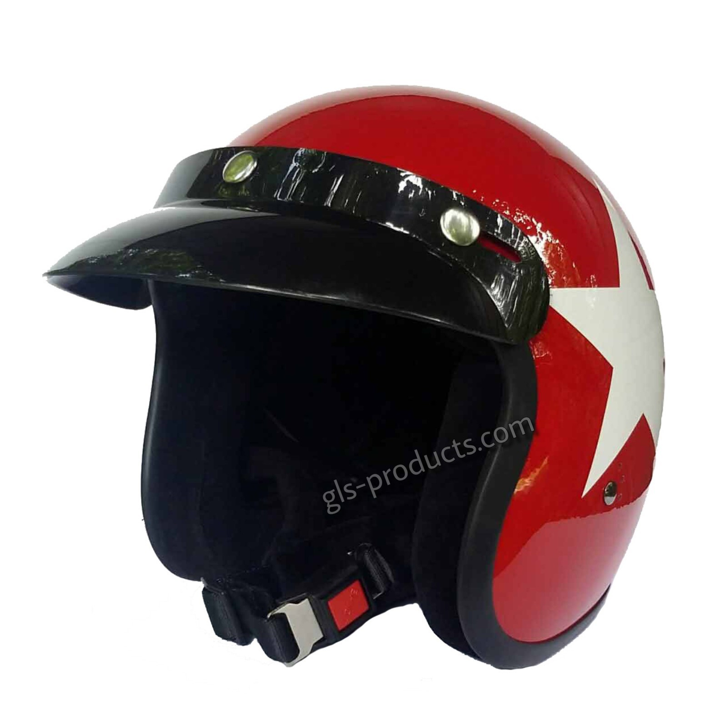 Bandit Star Red Jet Helmet - Red Motorcycle Helmet – Picture 3