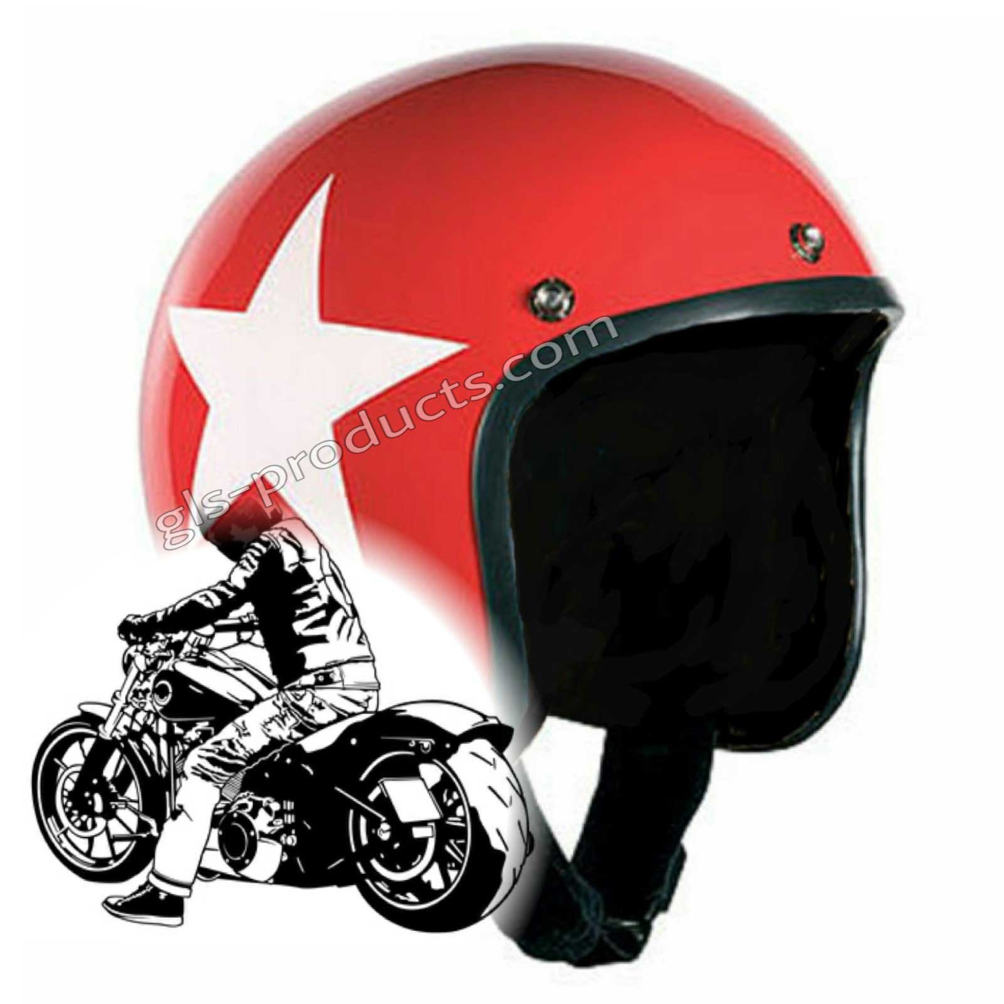 Bandit Star Red Jet Helmet - Red Motorcycle Helmet – Picture 1