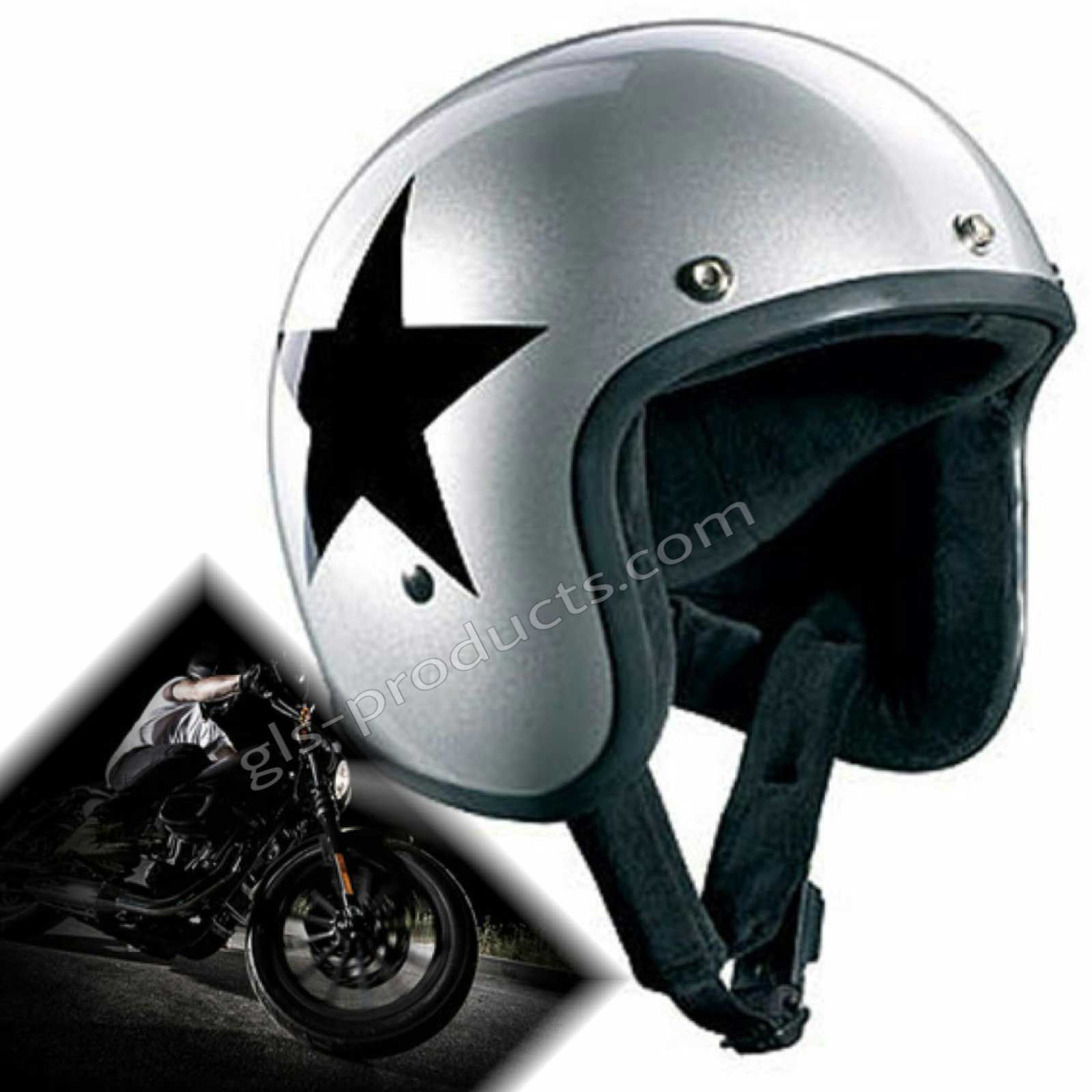 Bandit Star Silver Original Jet Helmet - Silver Motorcycle Helmet