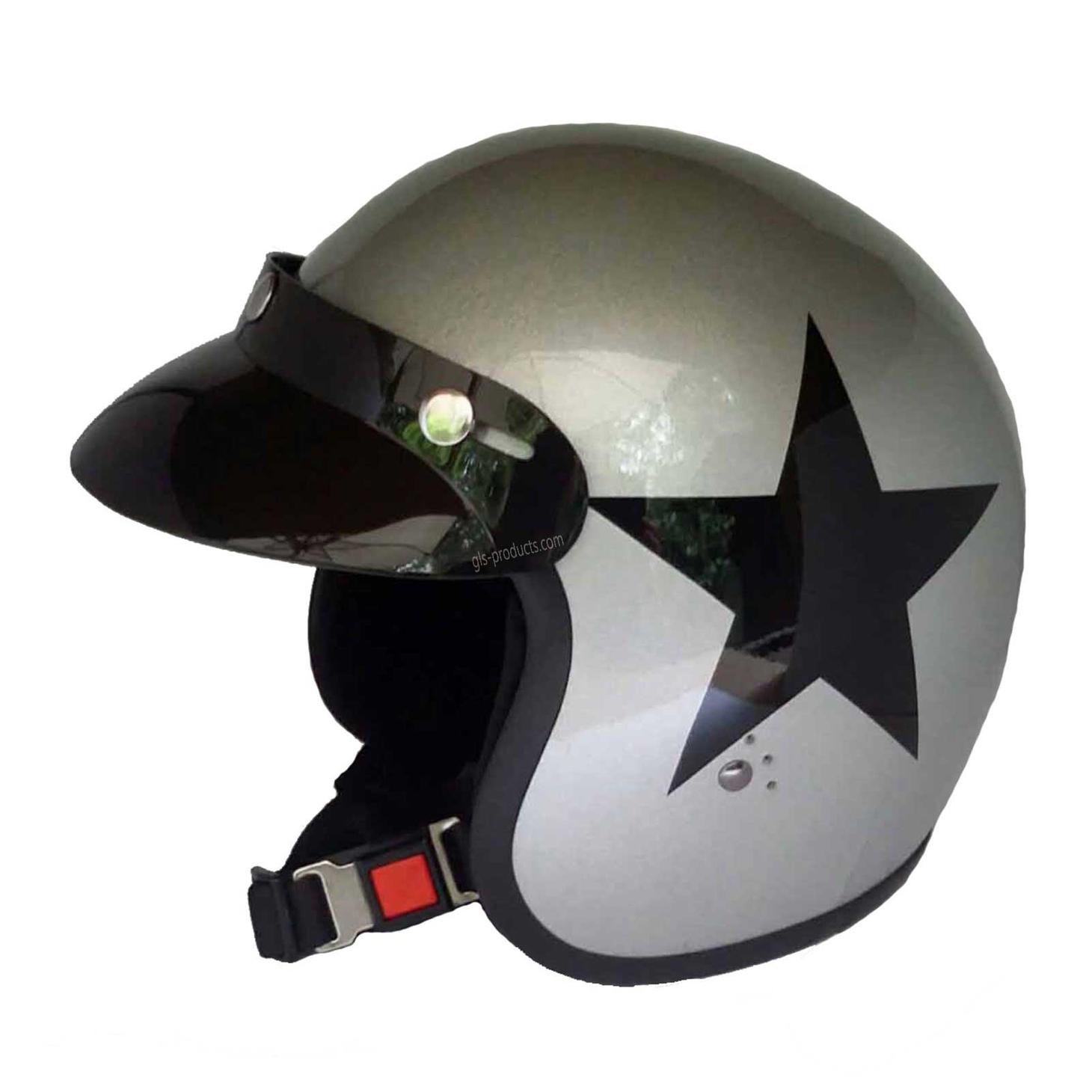 Bandit Star Silver Original Jet Helmet - Silver Motorcycle Helmet – Picture 2