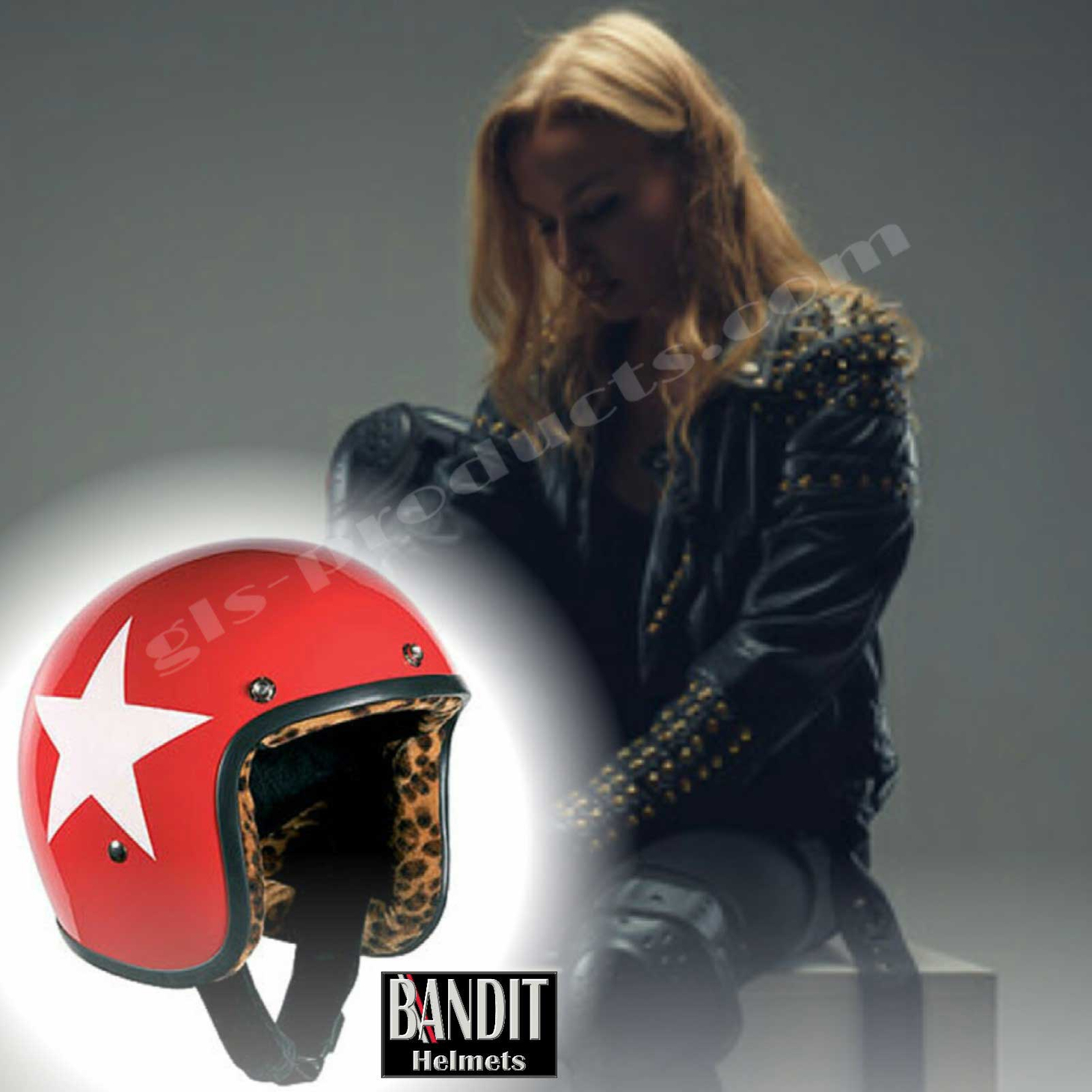 Bandit Star Red Leo Jet Helmet - Red Leopard Print Motorcycle Helmet – Picture 8