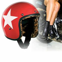 Bandit Star Red Leo Jet Helmet - Red Leopard Print Motorcycle Helmet 001