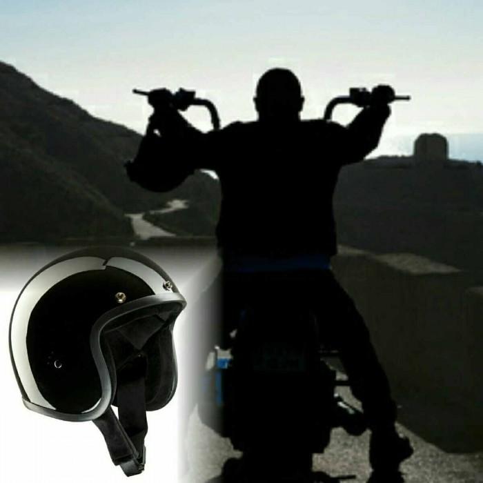 Bandit Jet Helmet - Glossy Black Motorcycle Open Face Helmet – Picture 8